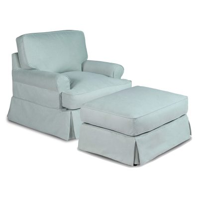 Horizon Slipcover Collection - Chair and Ottoman three-quarter view SU-117620-30-391043