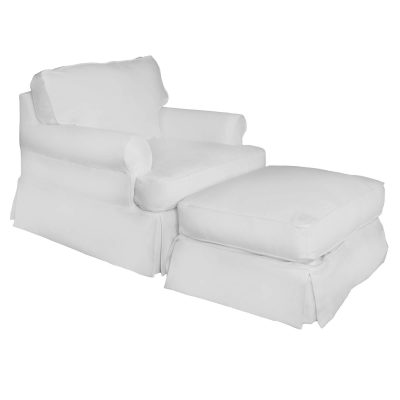Horizon Slipcover Collection - Chair and Ottoman three-quarter view SU-117620-30-391081