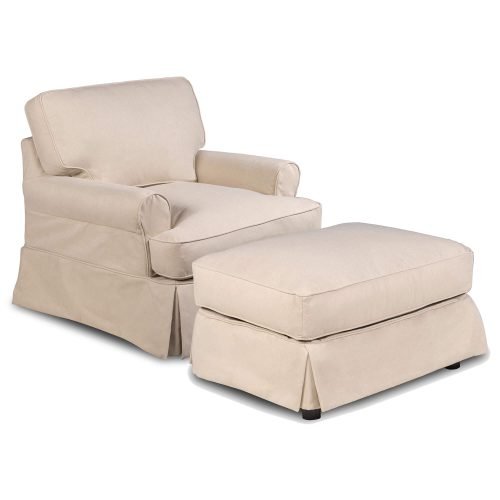 Horizon Slipcover Collection - Chair and Ottoman three-quarter view SU-117620-30-391084