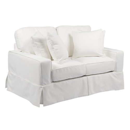 Americana Slipcovered Collection - Loveseat - three-quarter view with pillows SU-108510-391081