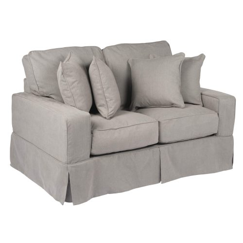 Americana Slipcovered Collection - Loveseat - three-quarter view with pillows SU-108510-391094
