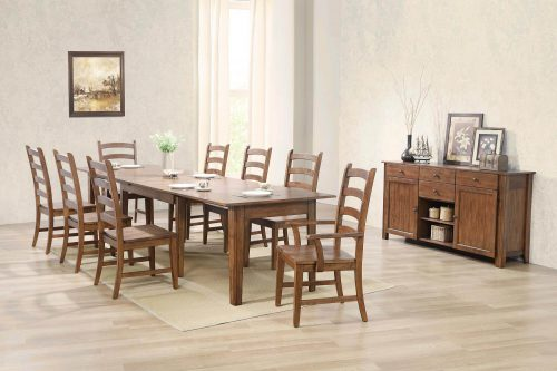 Amish Dining - 10-piece dining set - Rectangular extendable dining table with two armchairs and six dining chairs and server dining room setting DLU-BR134-AMSB10PC