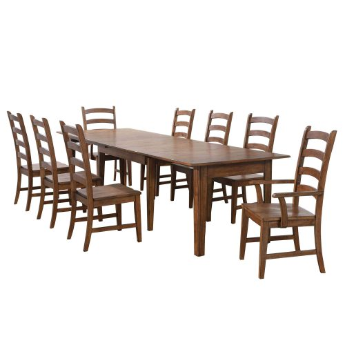 Amish Dining - 9-piece dining set - Rectangular extendable dining table with two armchairs and six dining chairs DLU-BR134-AM9PC