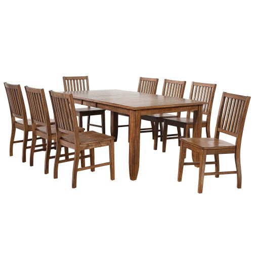 Amish Dining - 9-piece dining set - extendable dining table and eight slat back chairs DLU-BR4272-C60-AM9PC
