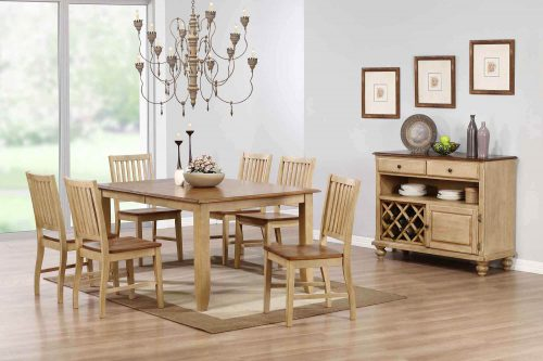 Amish Dining Collection - Eight-piece dining set Extendable table - six chairs - sideboard server in light-Oak finish dining room setting DLU-BR-SER-PW