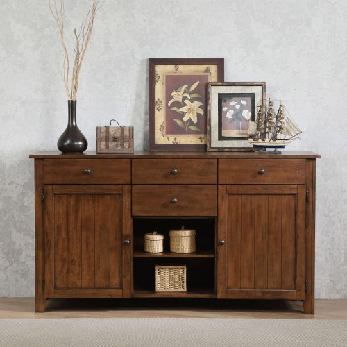 Amish Dining Collection - Sideboard server in dark-Oak finish in dining room setting DLU-BR-SB-AM