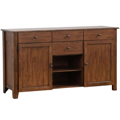 Amish Dining Collection - Sideboard server in dark-Oak finish three-quarter view DLU-BR-SB-AM