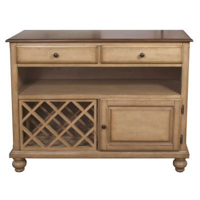 Amish Dining Collection - Sideboard server in light-Oak finish front view with wine rack DLU-BR-SER-PW