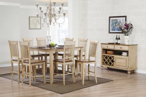 Amish Dining Collection - Ten-piece pub height square dining set square pub table - eight chairs - sideboard server in light-Oak finish dining room setting DLU-BR-SER-PW