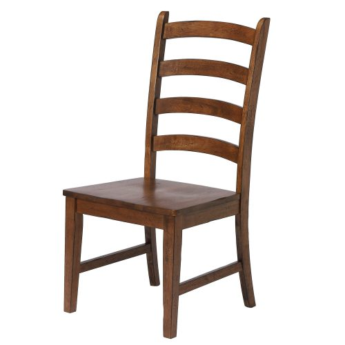 Amish Dining - Ladder back dining side chair finished in chestnut - angled three-quarter view DLU-BR-C80-AM-2