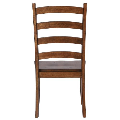 Amish Dining - Ladder back dining side chair finished in chestnut - back view DLU-BR-C80-AM-2