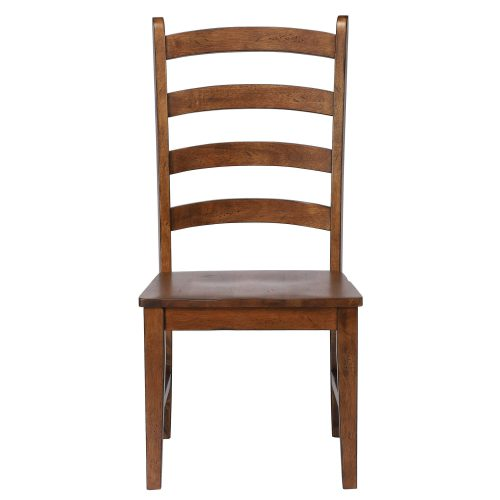 Amish Dining - Ladder back dining side chair finished in chestnut - front view DLU-BR-C80-AM-2