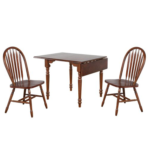 Andrews Dining - 3-piece dining set -Drop leaf dining table with two Arrow-back chairs finished in distressed chestnut DLU-ADW3448-820-CT3PC