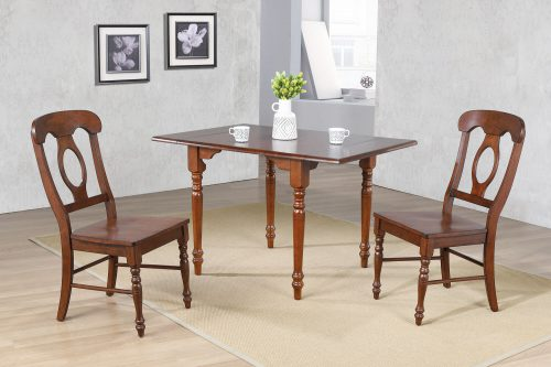 Andrews Dining - 3-piece dining set -Drop leaf dining table with two Napoleon chairs finished a distressed chestnut dining room setting DLU-ADW3448-C50-CT3PC