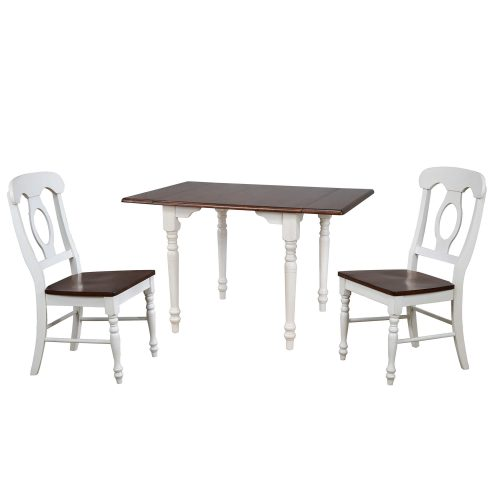 Andrews Dining - 3-piece dining set -Drop leaf dining table with two Napoleon chairs finished in antique white with a chestnut top DLU-ADW3448-C50-AW3PC