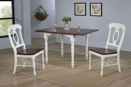 Andrews Dining - 3-piece dining set -Drop leaf dining table with two Napoleon chairs finished in antique white with a chestnut top dining room setting DLU-ADW3448-C50-AW3PC