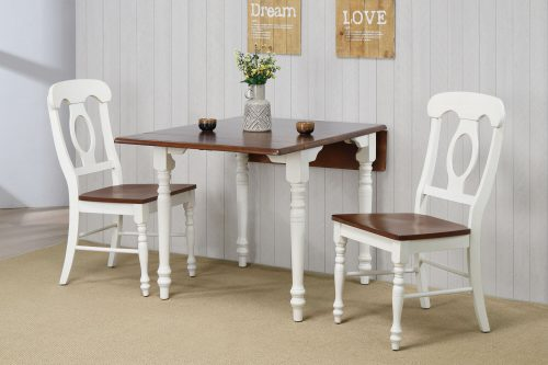 Andrews Dining - 3-piece dining set -Drop leaf dining table with two Napoleon chairs finished in antique white with a chestnut top dining room wall setting DLU-ADW3448-C50-AW3PC