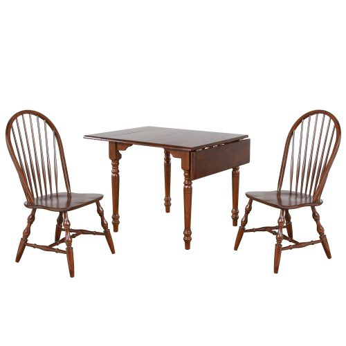 Andrews Dining - 3-piece dining set -Drop leaf dining table with two Spindleback chairs finished distressed chestnut DLU-ADW3448-C30-CT3PC