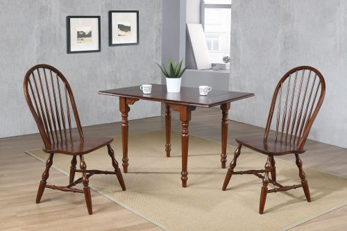 Andrews Dining - 3-piece dining set -Drop leaf dining table with two Spindleback chairs finished distressed chestnut dining room setting DLU-ADW3448-C30-CT3PC