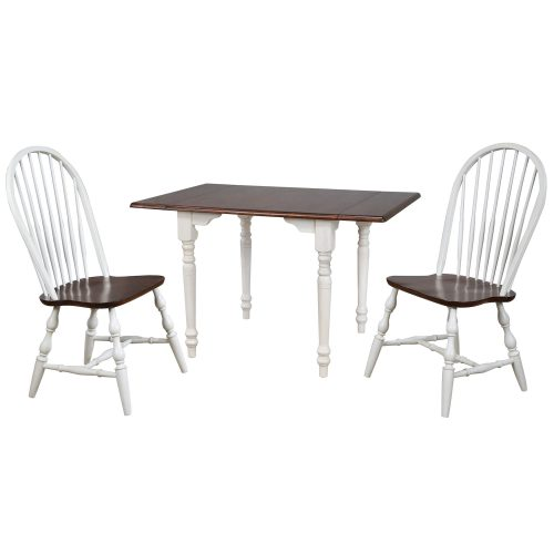 Andrews Dining - 3-piece dining set -Drop leaf dining table with two Spindleback chairs finished in antique white with a chestnut top DLU-ADW3448-C30-AW3PC