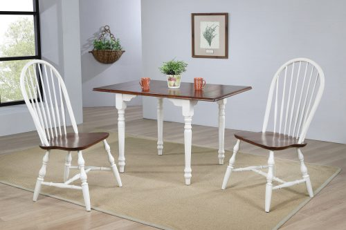 Andrews Dining - 3-piece dining set -Drop leaf dining table with two Spindleback chairs finished in antique white with a chestnut top - dining room setting DLU-ADW3448-C30-AW3PC