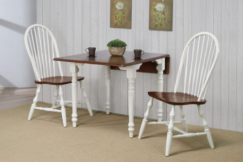 Andrews Dining - 3-piece dining set -Drop leaf dining table with two Spindleback chairs finished in antique white with a chestnut top - dining room wall setting DLU-ADW3448-C30-AW3PC
