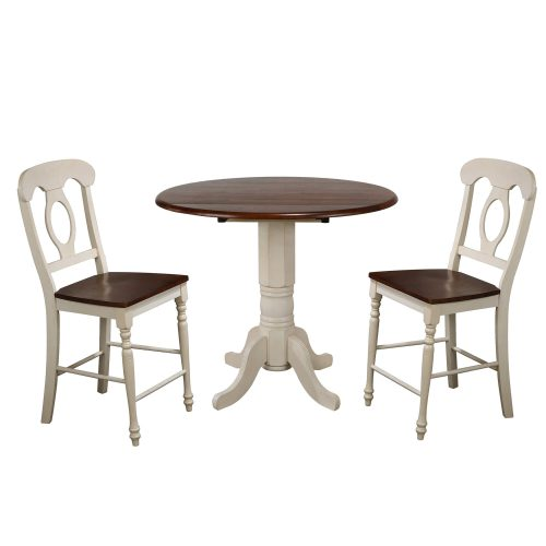 Andrews Dining - 3-piece dining set - Pub height dining table with two Napoleon stools finised in antique white with Chestnut top and seats DLU-ADW4242CB-B50-AW3PC