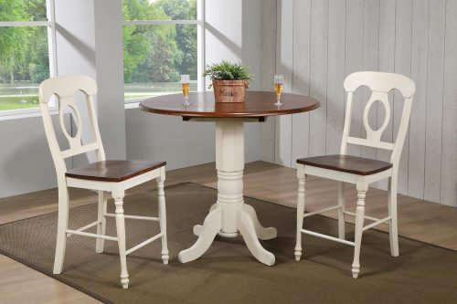 Andrews Dining - 3-piece dining set - Pub height dining table with two Napoleon stools finised in antique white with Chestnut top and seats dining room setting DLU-ADW4242CB-B50-AW3PC