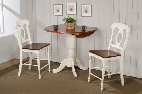 Andrews Dining - 3-piece dining set - Pub height dining table with two Napoleon stools finished in antique white with Chestnut top and seats dining room wall setting DLU-ADW4242CB-B50-AW3PC