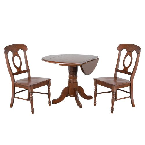 Andrews Dining - 3-piece dining set - Round dining table with drop leaf and two Napoleon chairs - finished in distressed Chestnut DLU-ADW4242-C50-CT3PC