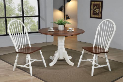 Andrews Dining - 3-piece dining set - Round dining table with drop leaf and two Spindle-back chairs - finished in antique white with Chestnut top and seats dining room setting DLU-ADW4242-C30-AW3PC