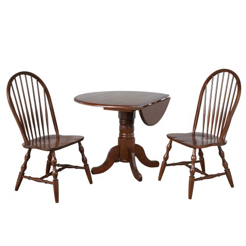 Andrews Dining - 3-piece dining set - Round drop leaf table with two Spindle-back chairs finished in distressed Chestnut DLU-ADW4242-C30-CT3PC