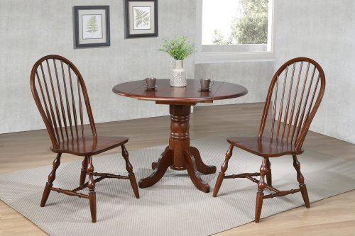 Andrews Dining - 3-piece dining set - Round drop leaf table with two Spindle-back chairs finished in distressed Chestnut - dining room setting DLU-ADW4242-C30-CT3PC