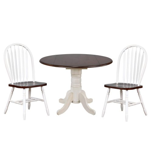 Andrews Dining - 3-piece dining set - Round drop leaf table with two Arrow-back chairs - finished in antique with with chestnut top and seats DLU-ADW4242-820-AW3PC