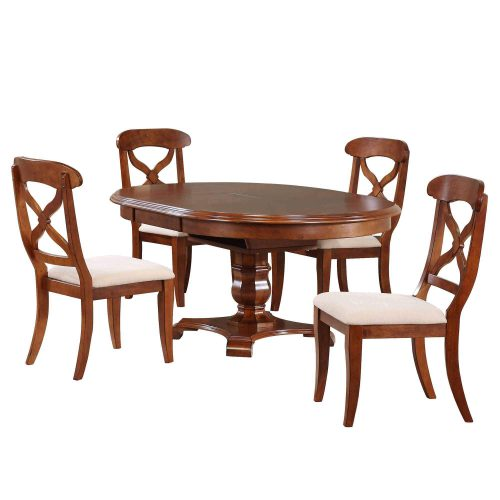 Andrews Dining 5-piece dining set - Butterfly leaf dining table with four upholstered criss-cross chairs finished in distressed Chestnut DLU-ADW4866-C12-CT5PC