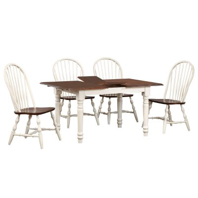 Andrews Dining 5-piece dining set - extendable dining table with leaf and four Windsor chairs finished in antique white with Chestnut top and seats DLU-TLB3660-C30-AW5PC