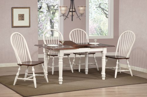 Andrews Dining 5-piece dining set - extendable dining table with leaf and four Windsor chairs finished in antique white with Chestnut top and seats dining room setting DLU-TLB3660-C30-AW5PC