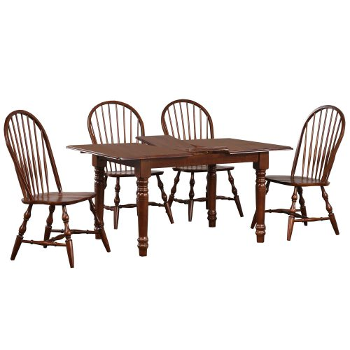 Andrews Dining 5-piece dining set - extendable dining table with leaf and four Windsor chairs finished in distressed Chestnut DLU-TLB3660-C30-CT5PC