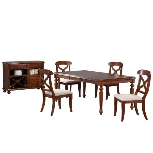 Andrews Dining - 6-piece dining set - Butterfly leaf dining table with four Napoleon chairs and server finished in distressed chestnut DLU-ADW4276-C12-SRCT6PC