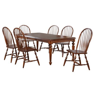 Andrews Dining - 7-piece dining set - Butterfly leaf dining table with six Windsor chairs finished in distressed chestnut DLU-ADW4276-C30-CT7PC