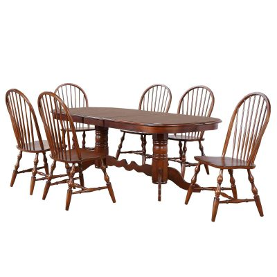Andrews Dining 7-piece dining set - Double pedestal table with six Windsor chairs finished in distressed Chestnut DLU-ADW4296-C30-CT7PC