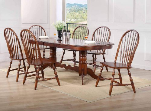 Andrews Dining 7-piece dining set - Double pedestal table with six Windsor chairs finished in distressed Chestnut dining room setting DLU-ADW4296-C30-CT7PC