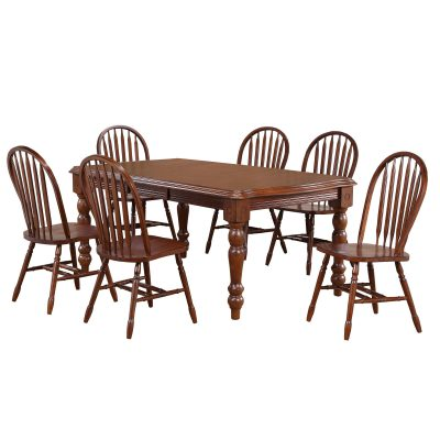 Andrews Dining 7-piece dining set - Extendable dining table with six Arrow-back chairs finished in distressed Chestnut DLU-SLT4272-820-CT7PC