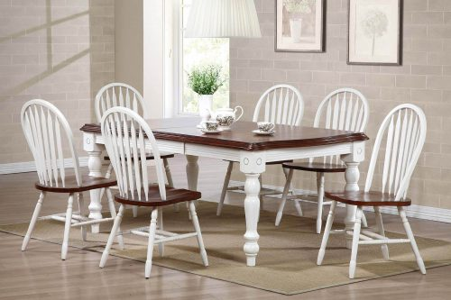 Andrews Dining 7-piece extendable dining table with six Arrow-back chairs finished in antique white with Chestnut top and seats - dining room setting DLU-SLT4272-820-AW7PC