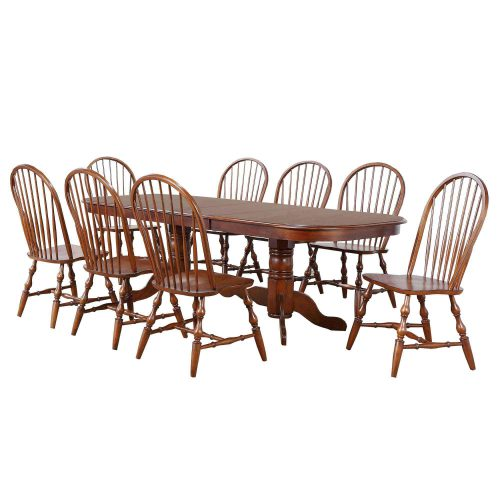 Andrews Dining 9-piece dining set - Double pedestal table with eight Windsor chairs finished in distressed Chestnut DLU-ADW4296-C30-CT9PC