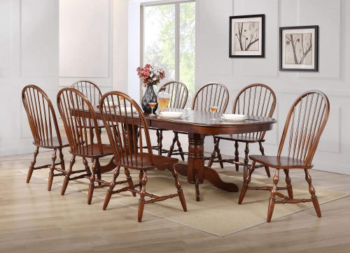 Andrews Dining 9-piece dining set - Double pedestal table with eight Windsor chairs finished in distressed Chestnut dining room setting DLU-ADW4296-C30-CT9PC