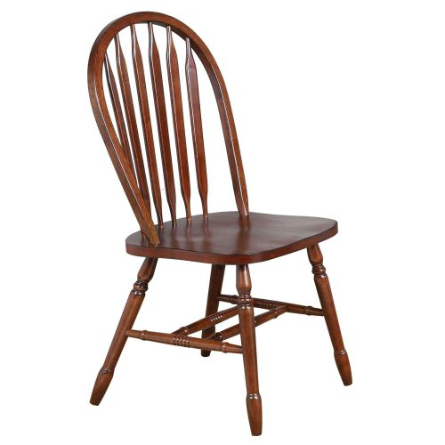 Andrews Dining - Arrow-back dining chair finished in distressed chestnut - front view - DLU-820-CT-2