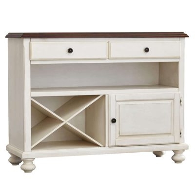 Andrews Dining Collection - Server in Antique white with a Chestnut top - three-quarter view DLU-ADW-SER-AW