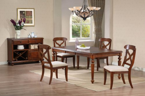 Andrews Dining Collection - Six-piece dining set with extendable dining table - four chairs and server in a Chestnut finish DLU-ADW-SER-CT