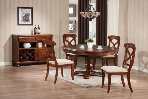 Andrews Dining Collection - Six-piece dining set with extendable pedestal table - four chairs and server in a Chestnut finish DLU-ADW-SER-CT